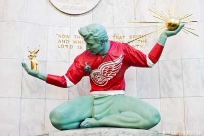 Spirit Of Detroit In Red Wing Jersey